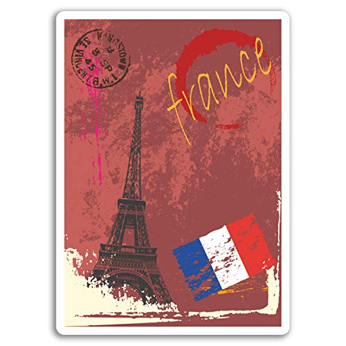 2 x 10cm Paris France Vinyl Stickers - Sticker Car Luggage Travel Gift #19000 (10cm) (Luggage France)