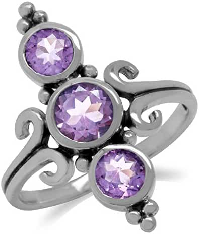 1.79ct. 3-Stone Natural Amethyst 925 Sterling Silver Balinese Style Ring