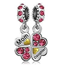 JMQJewelry Heart Mom Lover Oct-Dec Birthstone Clover Daughter Love Mom Charms For Bracelets