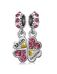 JMQJewelry Heart Mom Lover Oct-Dec Birthstone Clover Daughter Love Mom Charms for Bracelets