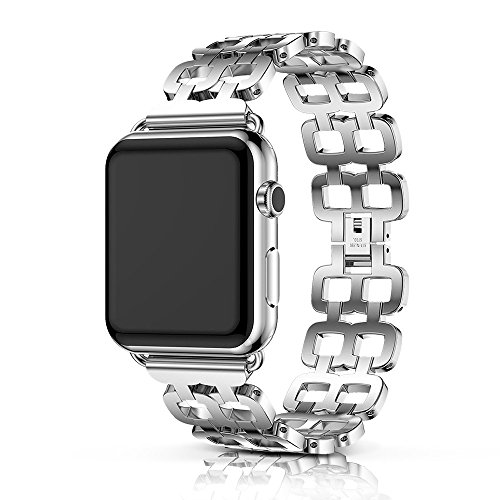 ANCOOL Compatible Apple Watch Band 38mm 42mm for Men Women Replacement Stainless Steel Link Band Replacement for Apple Watch Series 3/2/1 (38mm Silver) by ANCOOL