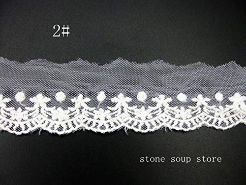 - Lace Crafts - 5yards Mesh Cotton Yarn Embroidered Lace White Organza lace Voile Wedding Dress Accessories DIY Decorr 35-65mm - (Color: No2 5 Yards)