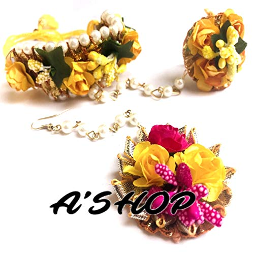 A'SHOP Women's Awesome Rose Floret/Flower Gota Patti; Pearl Moti and Ring Haath Phool and Mangtika Jewellery (Yellow) (B07V5K5CPY) Amazon Price History, Amazon Price Tracker