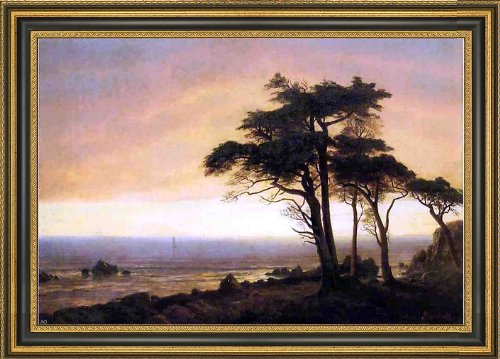Frame Bierstadt Canvas - Albert Bierstadt California Coast - 18.05