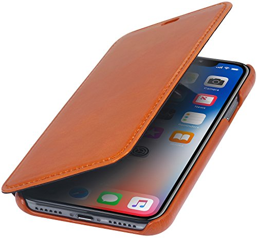 StilGut Genuine Leather Case Compatible with iPhone Xs & iPhone X, Slim Book Type Folio Flip Cover, Cognac Brown