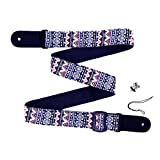 Rayzm Ukulele Strap, Bohemian Style Knitting Cotton Belt for Ukulele or Small Size Guitar with a Strap Button, 4 cm Wide, Adjustable Length from 78 cm to 132 cm