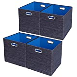 Posprica Storage Cube Basket Bins,Foldable Closet Organizer Boxes Shelf Cabinet Bookcase,Thick Fabric Drawer Container - 11''×11'', 4pcs,Blue