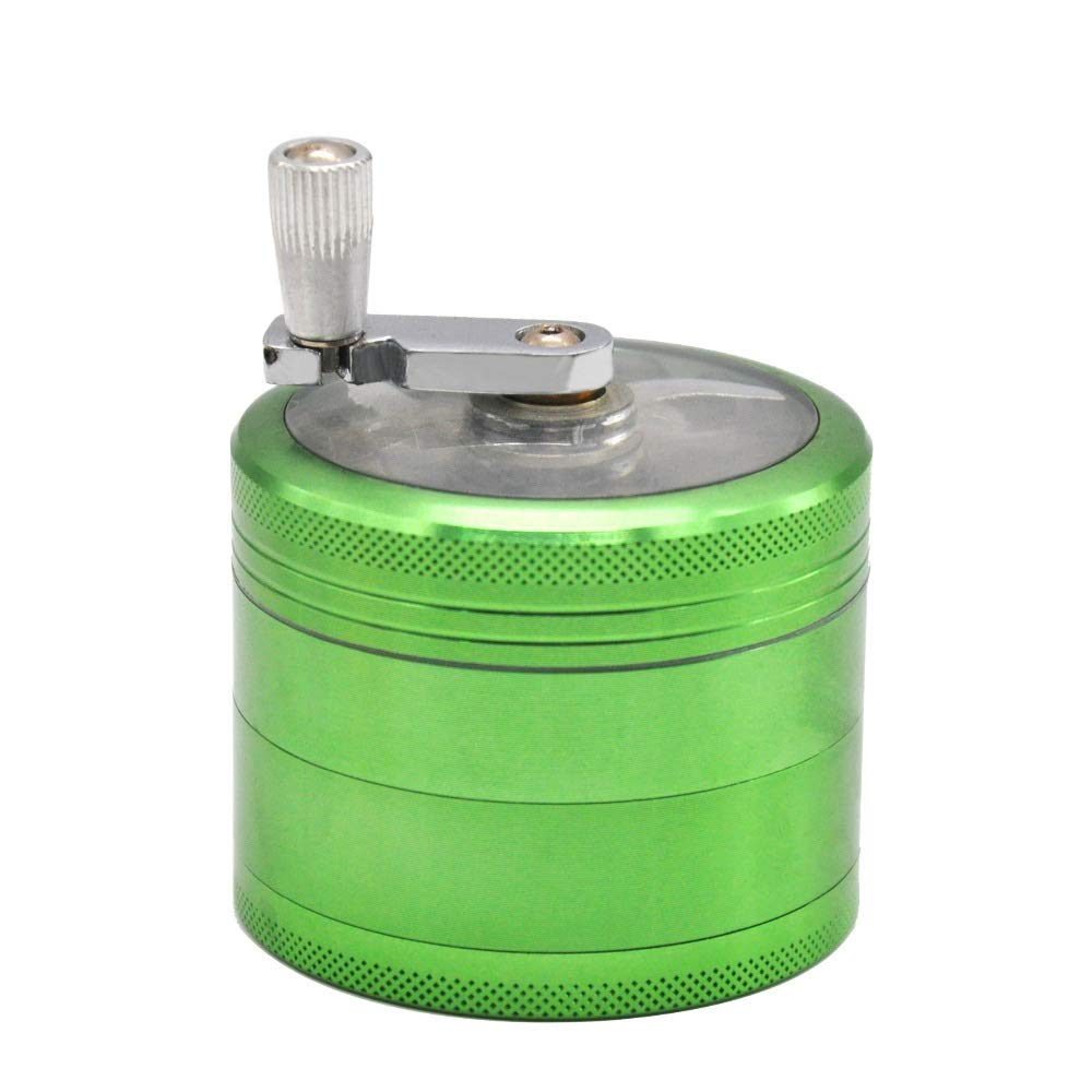 Yzyamz Herb Grinder, Aluminum Alloy Four-layer Transparent Hand-cranked Manual Grinding Machine Desktop Grinding Machine 2.5 Inches (63Mm) (Color : Green) by Yzyamz