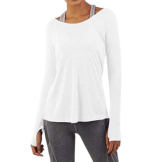Womens Workout Tee Tops Long Sleeve Split Back Sport Yoga T-Shirts with Thumbholes at Amazon Womens Clothing store: