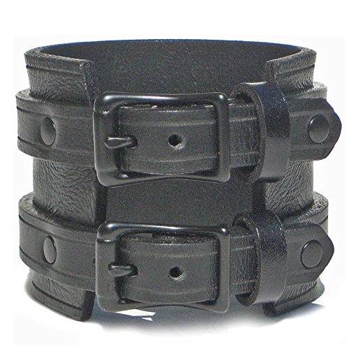 - BLACK Leather Wristband Cuff Bracelet with BLACK Buckles - 2 1/4 inch Wide 6