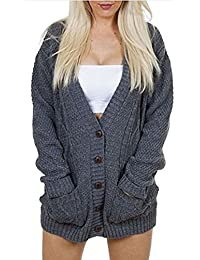 Women Ladies Knitted Long Sleeve Winter Thick Pocket Chunky Button Cardigan Top