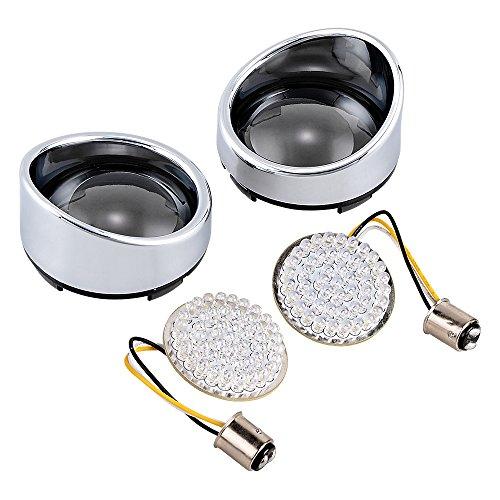 """1 Pair Amber White 2"""" Bullet 48-LED 1157 Turn Signal Light Inserts + Chrome Visor-Style Bezels Smoke Lens for Harley Davidson (Left&Right) hot sale"""