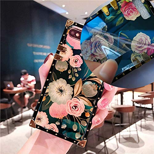KAPADSON for iPhone 7 Plus,8 Plus Retro Blue Ray Rose Flower Glitter Skin Design TPU+ PU Leather Plating Square Corner Strong Back Case with Holder - Flowers