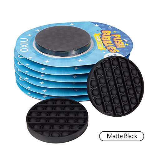 nixo Push Bubble Pop Fidget Toy, Black, Circle, Pack of 1 Popper Bubble Stress Relief Toy, Perfect Bubble Poppet Sensory Fidget Toy for Kids and Adults, Best Anti-Anxiety ADHD Popping Toy