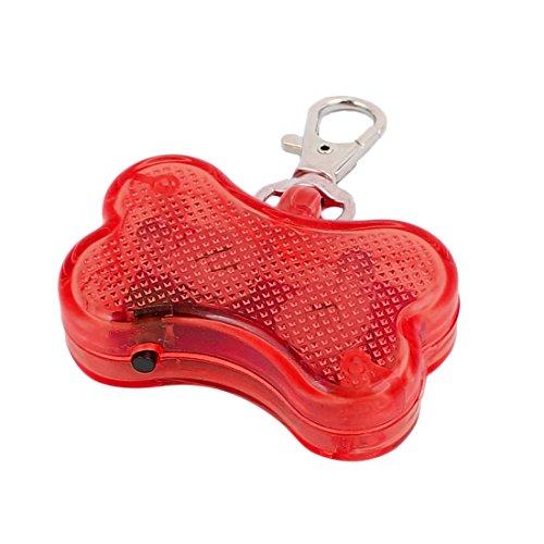 uxcell Red LED Light Bone Shape Pet Dog Blinker Flashing Safety Pendant Collar Gift