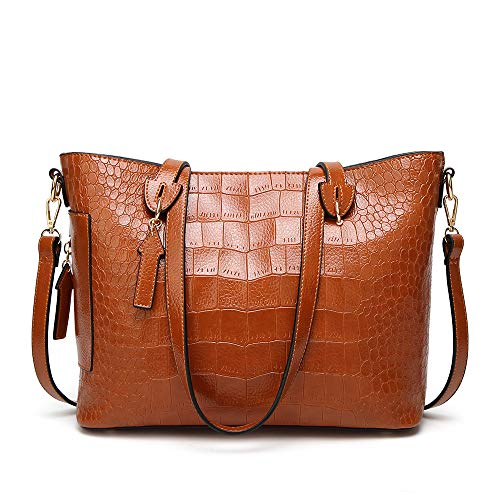 Women Fashion Handbags Alligator Pattern PU Leather Tote Bags Large-Space Shoulder Bag Casual Shopper Handbag (brown) ()