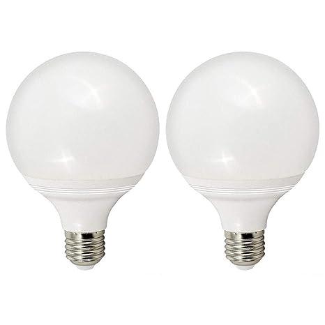 2 Bombillas LED G95 12W E27 tipo balón o globo para lámparas, dos bombillas de