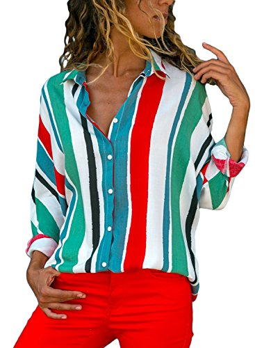 Dokotoo Womens Blouses Ladies Long Sleeve Autumn Winter V Neck Stripes Color Block Button Down Loose Casual Tops T Shirts Blouse Small
