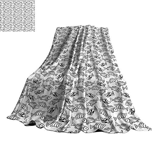 WinfreyDecor Fish Reversible Blanket Monochrome Aquatic Animals with Lined Patterns Coastline Fauna Marine Elements Design 60