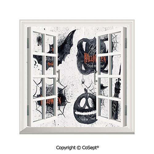 SCOXIXI Removable Wall Sticker,Halloween Symbols Happy Holiday Witch Lives Here Broomstick Spider Web Decorative,Window Sticker Can Decorate A Room(26.65x20 -