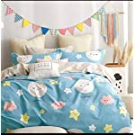 Divine Overseas Microfiber Kids Printed Designer Bed Sheet (90″ x 100″ 1 Bedsheet + 2 Pillow Covers, Blue White Sunshine Stars)