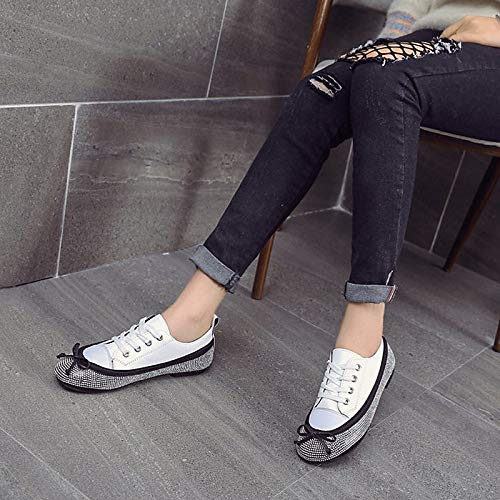 Negro Comfort de Blanco Mujer Summer Round Toe Black ZHZNVX Canvas Zapatos Flat Heel Sneakers Rhinestone wHnT4xOXqF