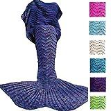 Fu Store Mermaid Tail Blanket Crochet Mermaid Blanket for Adult, Super Soft All Seasons Sofa Sleeping Blanket, Cool Birthday Wedding Mother's Day Gift, 71 x 35 Inches, Blue
