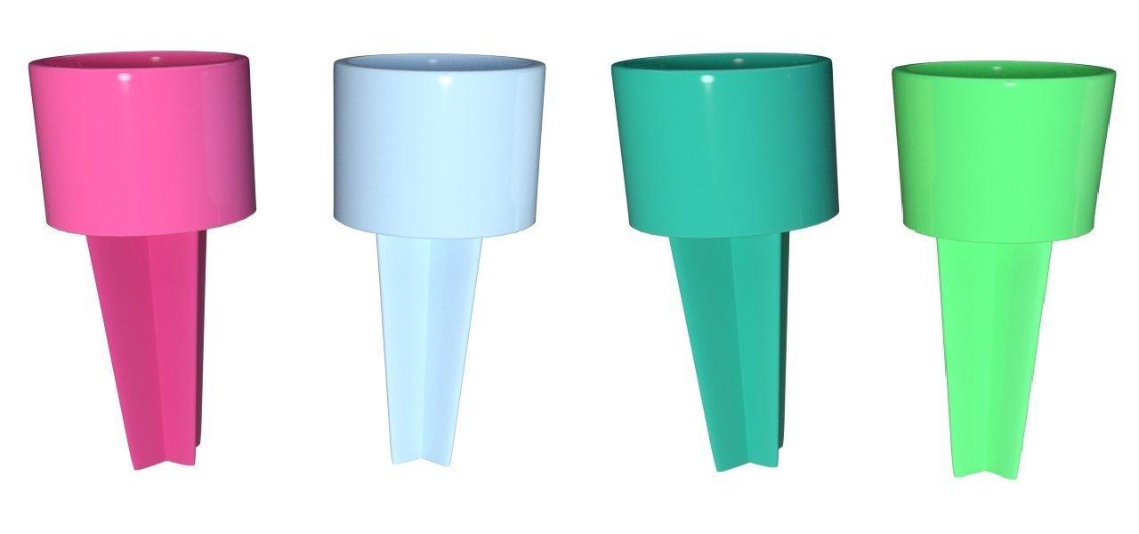 Set of 4 Spiker Plastic Beach Beverage Sand Cup Holders (Hot Pink, Carolina Blue, Teal, Lime)