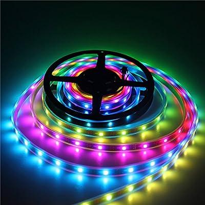 ALITOVE 16.4ft WS2812B Individually Addressable LED Strip Light 5050 RGB SMD 150 Pixels Dream Color Waterproof IP66 Black PCB 5V DC