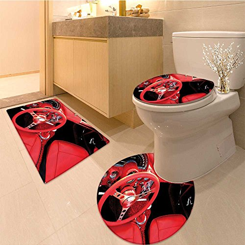 3 Piece Extended bath mat setCars Dated Beetle Car with Wings Once Sixties Freedom and Revolution Symbo Icon Boho Non Slip Bathroom Rugs ()
