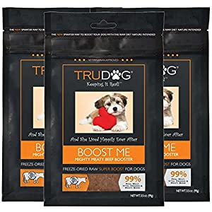 TruDog: Boost Me - Mighty Meaty Beef Booster - 3.5 oz - All Natural Dog Food Enhancer - Freeze-Dried Raw Superfood Supplement - Easy to Mix and Enhances The Nutritional Value Dry or Wet Dog Food 108