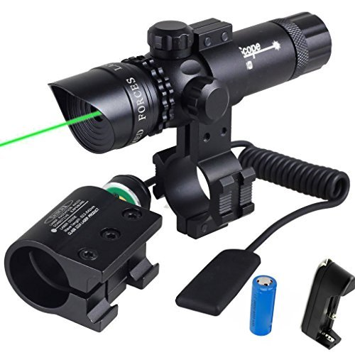 WNOSH Green Dot Sight with Pressure Switch 532nm Picatinny-Weaver Rail Scope Mount Universal Rifle Rechargeable CR123A Battery Charger by IWin Mall
