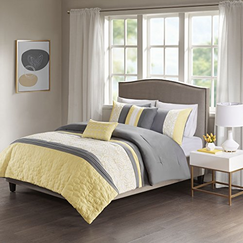 Piece Embroidered Bedding Comforter Set for Bedroom, Full/Queen Size, Yellow/Grey ()