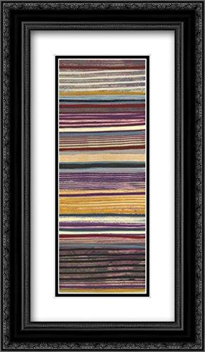 Jenis Print (Purple Stripes Panel II 2x Matted 14x24 Black Ornate Framed Art Print by Lee, Jeni)