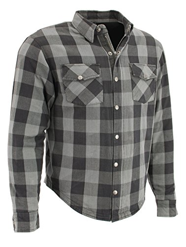Milwaukee Performance Men's Checkered Flannel Biker Shirt With Aramid (Black/Grey, 2X)