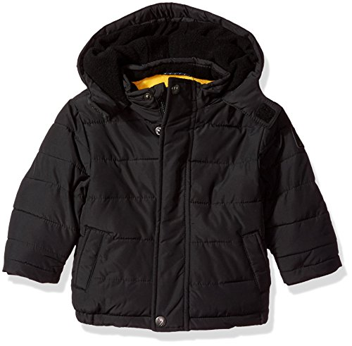 Nautica Baby Boys' Water Resistant Signature Bubble Jacket with Storm Cuffs, Black, 18 Months