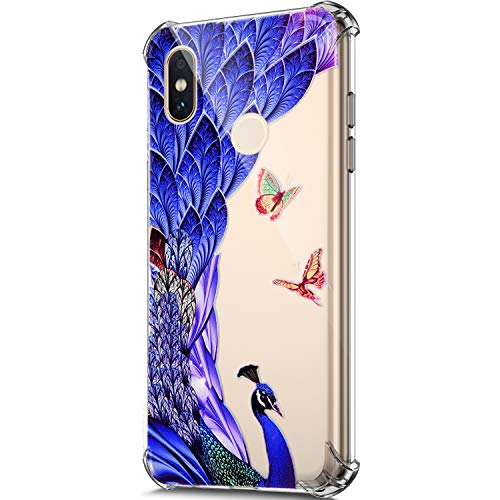 Price comparison product image ikasus Case for Xiaomi Mi A2, Clear Embossed Art Painted Pattern Design Soft & Flexible TPU Ultra-Thin Shockproof Transparent Girls Women TPU Case Cover for Xiaomi Mi A2 Silicone Case, Peacock Butterfly