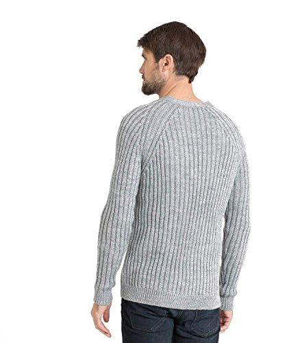 WoolOvers Gerippte Strickjacke mit V-Ausschnitt aus reiner Wolle für Herren Flannel, XL