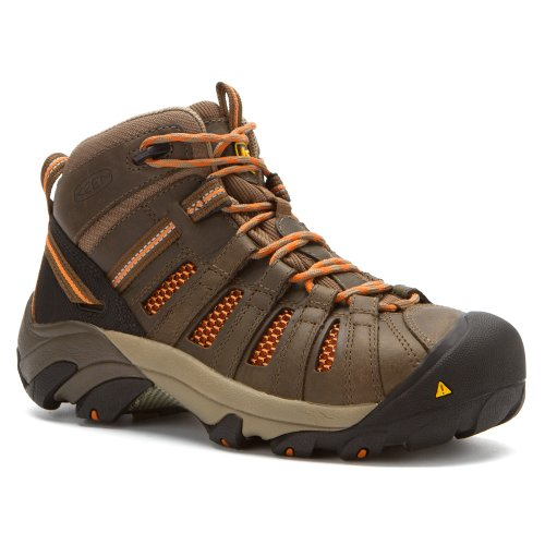 Keen Utility Women's Flint Mid Shitake/Burnt Orange Boot by KEEN Utility