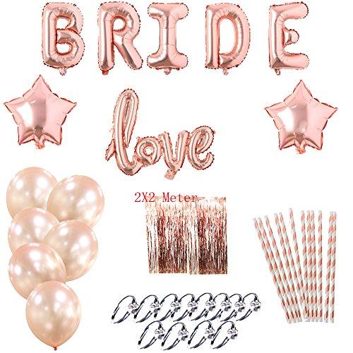 Bachelorette Party Decorations Kit Bridal shower Party-40 Pieces -Foil Fring Curtains,Foil Bride Letter Balloons,Rose Gold Love Balloon,Rose Gold Star Balloons,Rose Gold Latex Balloon,Rose Gold Straw
