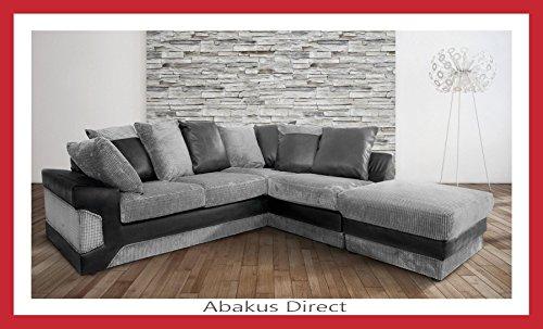 Abakus Direct Dino Corner Sofa In Black & Grey a Large Footstool [Black...