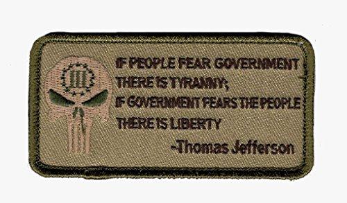 Tyranny Liberty 3% Percenter Thomas Jefferson Hook Patch by Miltacusa (TH2) (Thomas Jefferson Patch)
