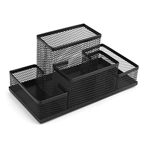 Mesh Desk Organizer with 4 Compartments Supplies Accessories for Desk Accessories, Perfect for Home, Students, or Office (Black)