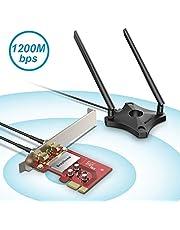 BrosTrend 1200Mbps PCI Express PCIe WLAN Karte Netzwerk-Adapter Dualband 5 GHz WiFi 867 Mbps 2,4 GHz 300 Mbps mit 2 x 5dBi Externe Antennen + Magnet Antennen fuß, für Windows 10/8.1/8 / 7, AC6