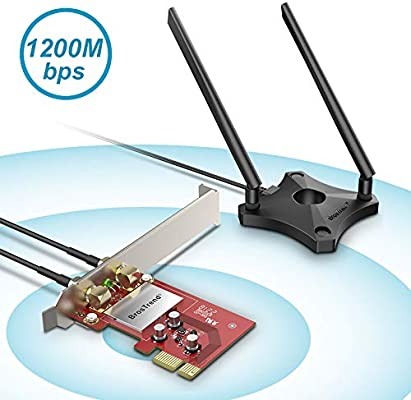 BrosTrend - Tarjeta WiFi PCI Express 1200Mbps, Adaptador Red WiFi Doble banda (Dual, 867Mbps/5GHz, 300Mbps/2.4GHz, 2 Antenas desmontables 5dBi + base ...