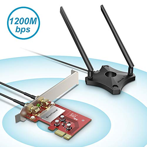 BrosTrend 1200Mbps PCIe WiFi Network Card for Desktop PC of Windows 10/8.1/8/7, 2 X 5dBi Antennas and Magnetic Extension Base, AC1200 Dual Band 5GHz 867Mbps / 2.4GHz 300Mbps, PCI Express