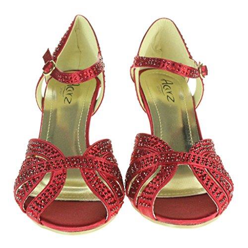 Mujer Señoras Diamante Peep Toe Correa de tobillo Tacón alto Noche Fiesta Nupcial Boda Paseo Sandalias Zapatos Tamaño Rojo