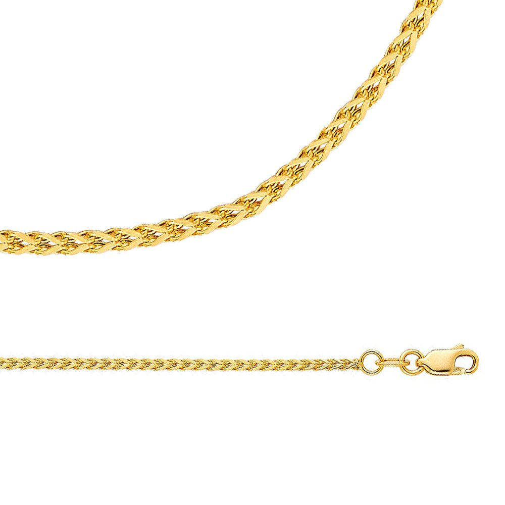 Wheat Chain Solid 14k Yellow Gold Necklace Flat Square Franco Hollow Braided Links, 1.7 mm - 16,18,20,22,24 inch 1.7 mm - 16 inch GemApex 4346057