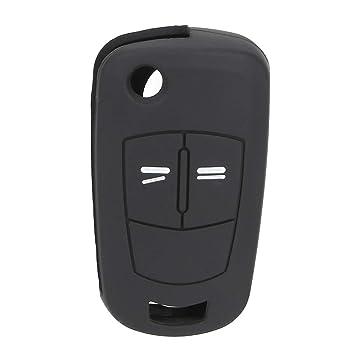 Carcasa para Llave de Coche con 2 Botones para Opel (Silicona), Color Negro