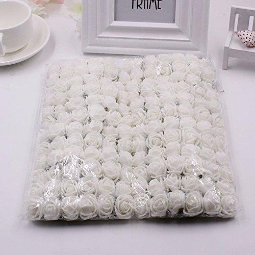 FLOWER 144pcs/pack 2cm Mini Foam Rose Artificial Bouquet Multicolor Rose Wedding Decoration Scrapbooking Fake Easter Gift (white)
